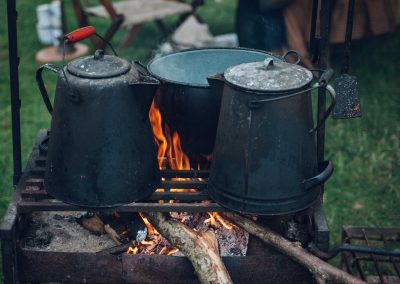 Pitch and Canvas | Glamping and Camping in Cheshire | Making tea over fire pit